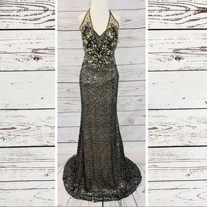 Tony Bowls Evenings black gold sequin gown train